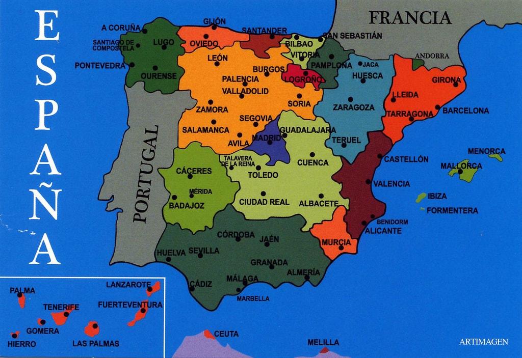 Cartina Politica Muta Spagna.Quante Regioni Ha La Spagna Una Cartina Politica Semplice