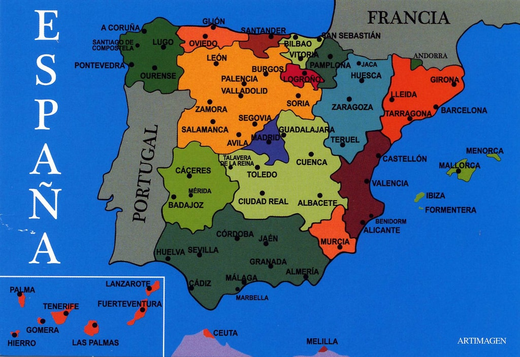 Cartina Spagna.Quante Regioni Ha La Spagna Una Cartina Politica Semplice